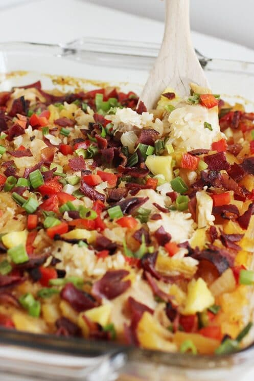 Aloha Chicken and Rice Bake with pineapple, rice, chicken and turkey bacon/