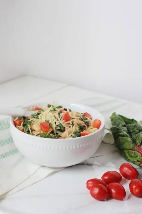 Garlic Pasta with Swiss Chard with cherry tomatoes