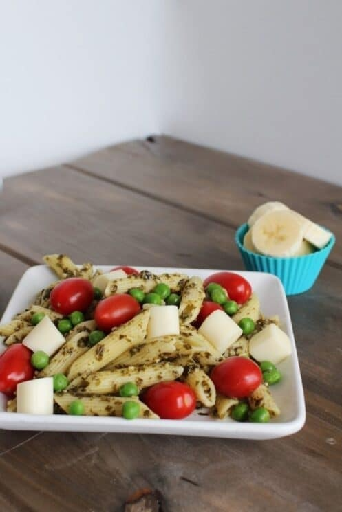 Pesto Pasta Salad with cherry tomatoes and peas