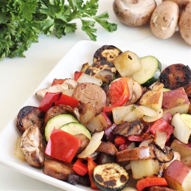 healthy one skillet meal with vegetables and sausage