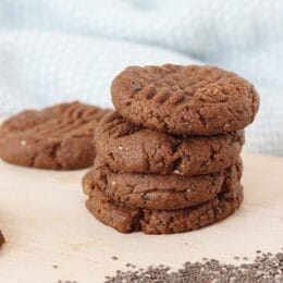 stack of chocolate chia cookies