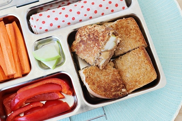 Grilled Apple and Peanut Butter Sandwich in a lunchbox