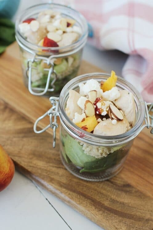 Sweet and Savory Peach Quinoa Salad in Jars