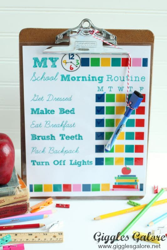 School Morning Routine Chart