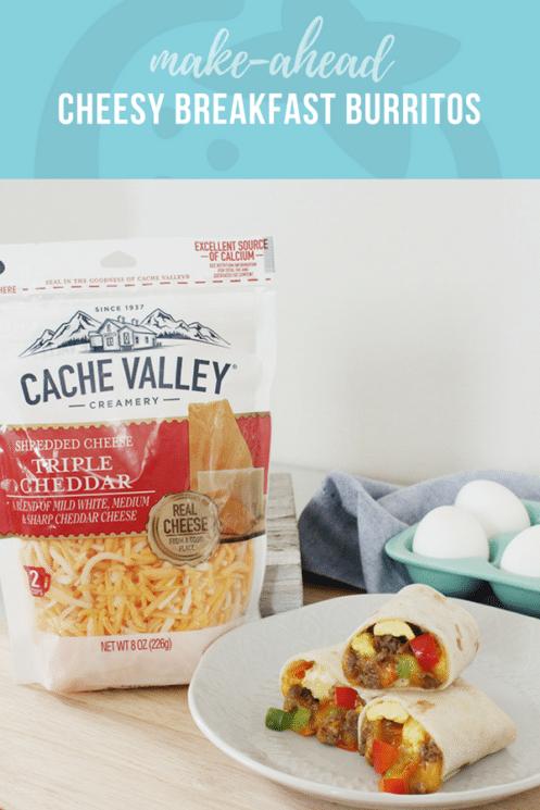 Make Ahead Cheesy Breakfast Burritos | Healthy Recipes for Kids