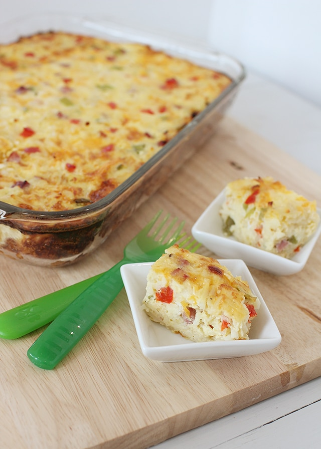 Breakfast Casserole with 2 slices and forks