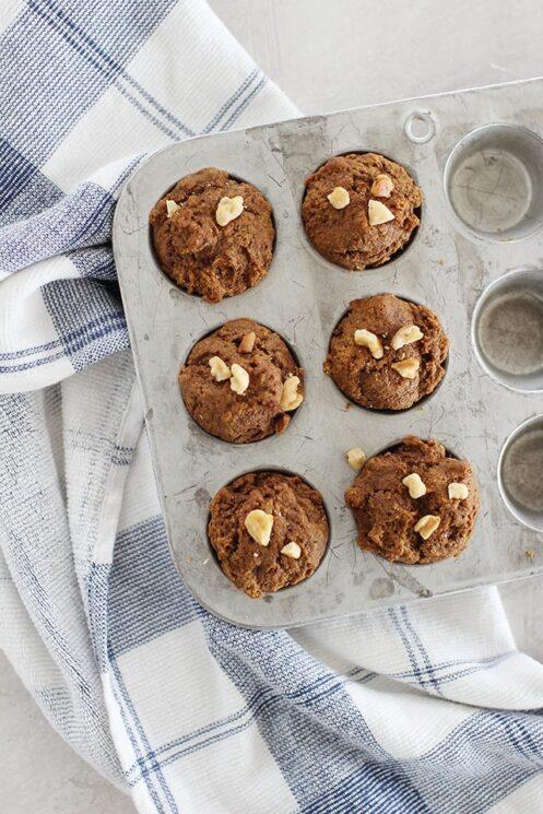 mini pumpkin molasses muffins in a mini muffin tin