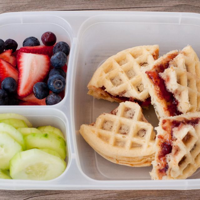 school lunch idea waffles and peanut butter jam
