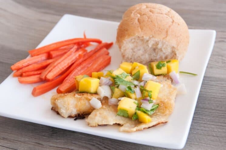 white fish with mango salsa and carrots