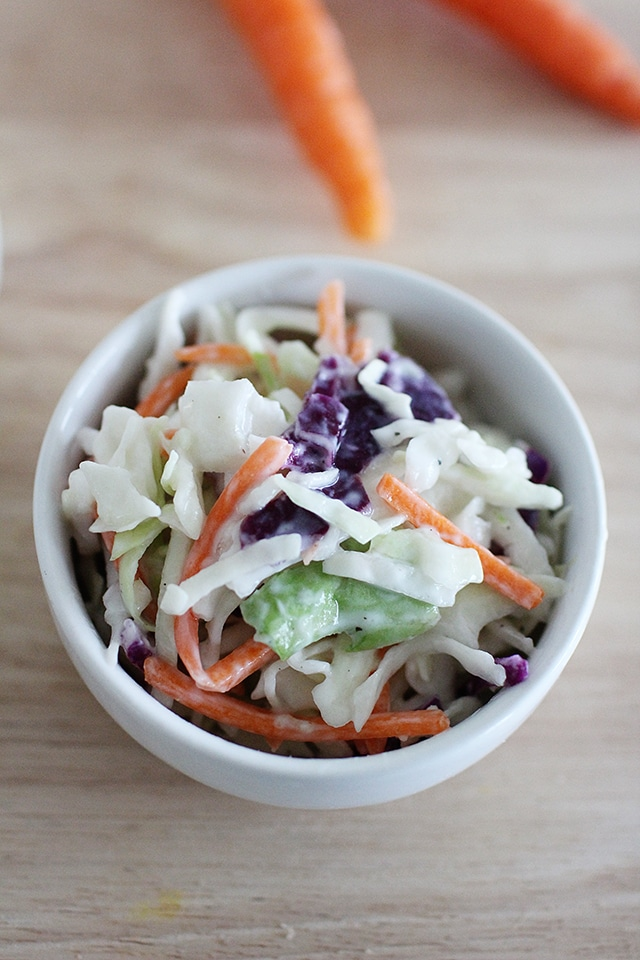 kid sized dish of healthy coleslaw
