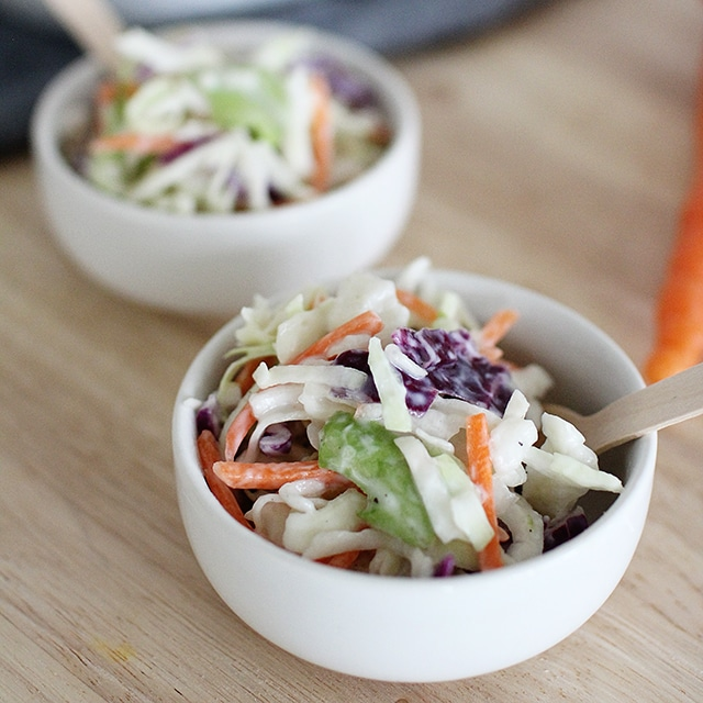 small bowl of healthy coleslaw