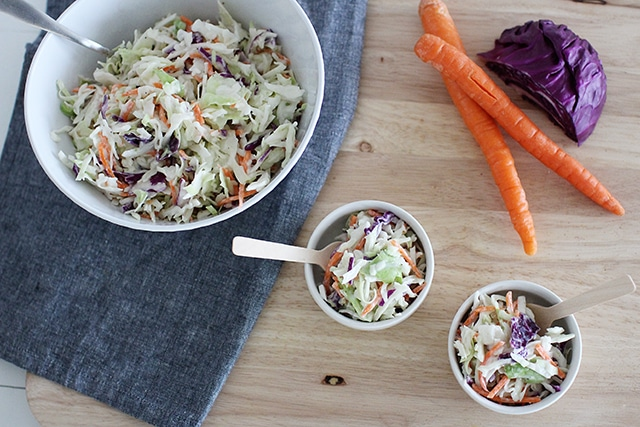 healthy coleslaw serving bowl with two dishes