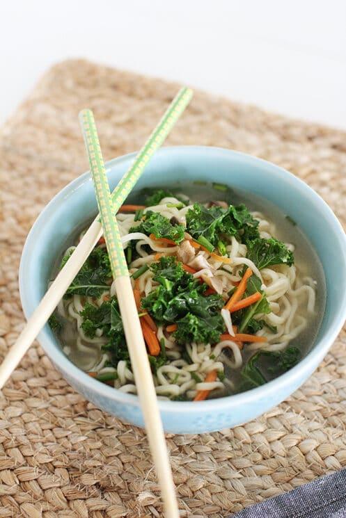 Homemade Top Ramen in a bowl with chopsticks