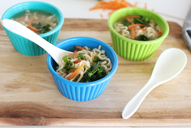 small colorful bowls of top ramen with veggies