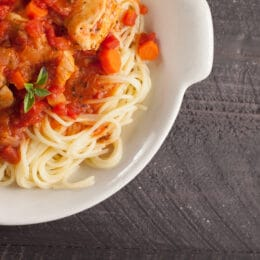 Chicken Cacciatore over pasta.