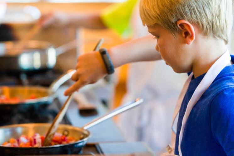 boy cooking a stir fry