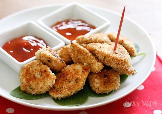 baked chicken nuggets with ketchup for dipping