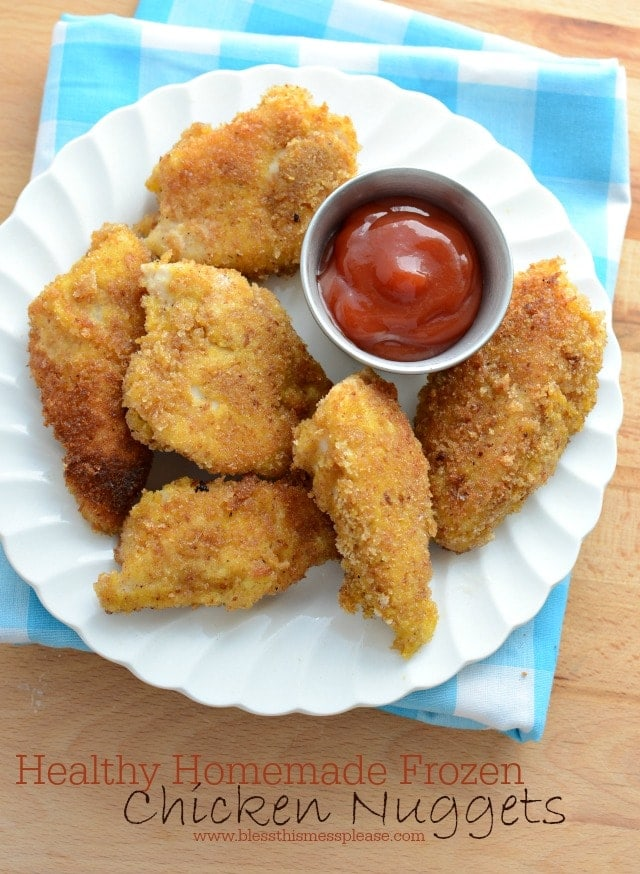 freezer chicken nuggets on a plate with ketchup
