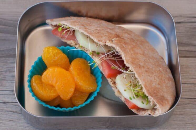 veggies and hummus in pita lunchbox