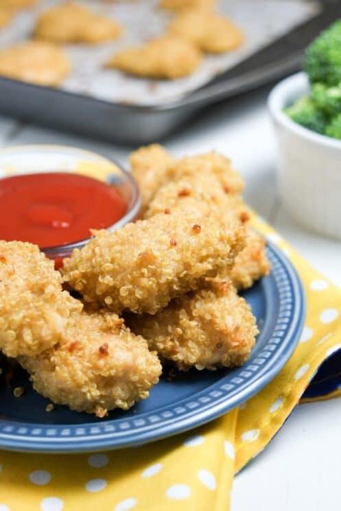 crispy quinoa coated chicken nuggets