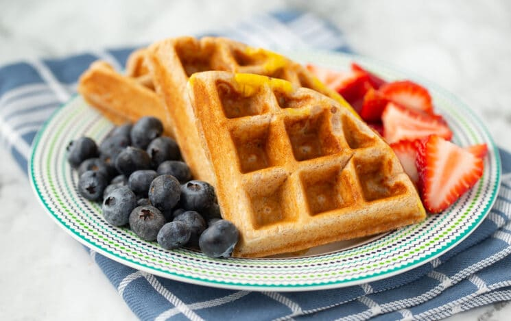 high protein waffle with egg and berries