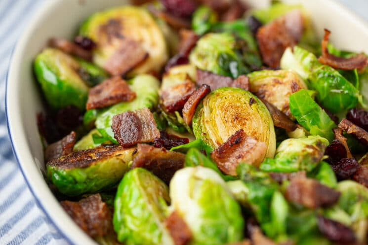 delicious brussels sprouts cooked with bacon
