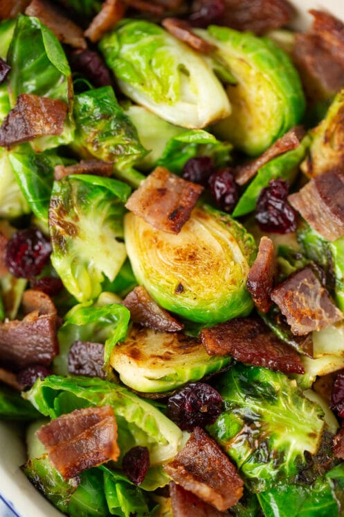 golden brown brussels sprouts with bacon