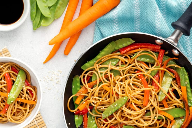 homemade lo mein with veggies in a pan