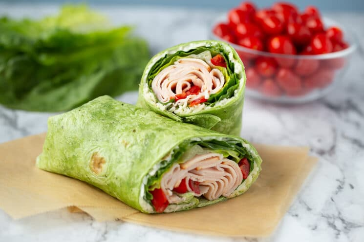 turkey ranch wrap with spinach tortilla