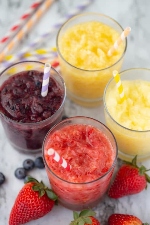 real whole fruit slushies in glasses with straws