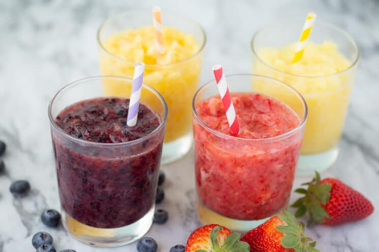 rainbow colored fruit slushies for a healthy summer snack