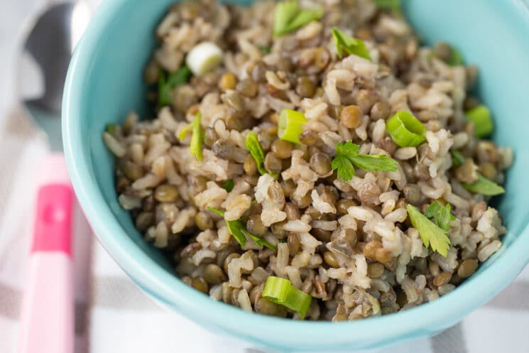 bowl full of lentils and brown rice