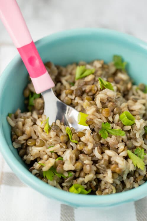 brown rice and lentils with herbs in a bowl