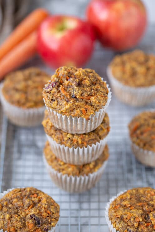 carrot apple flax muffins in a stack