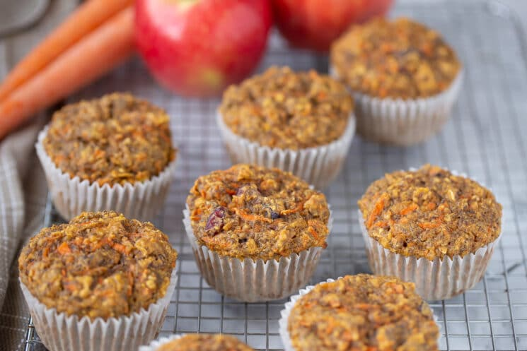 apple muffins with shredded carrots and seeds