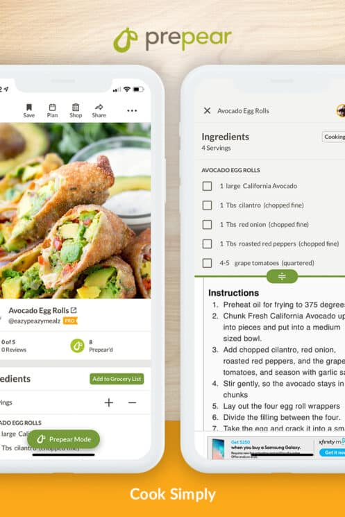 recipe screen in prepear app