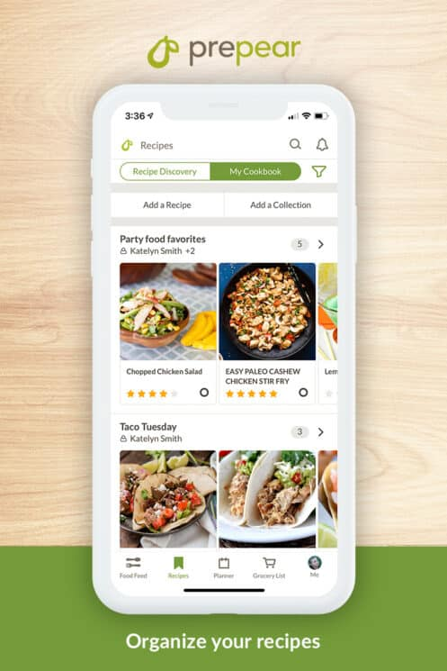 collecting recipes in the prepear app