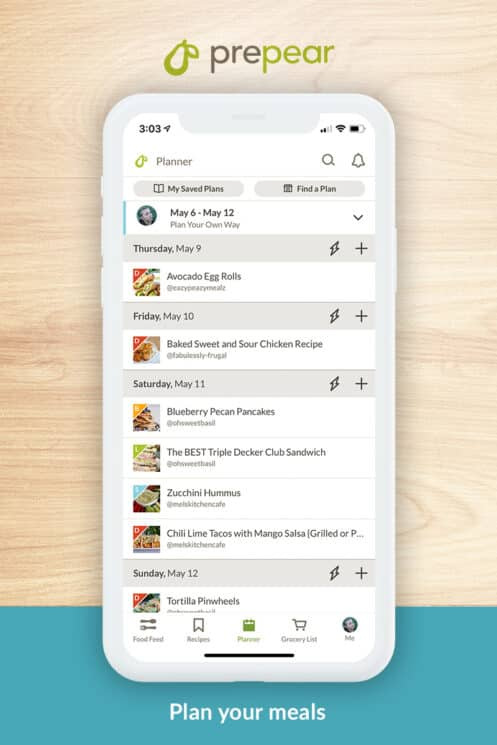 meal planning in the connected cooking app, prepear