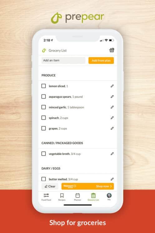 grocery app prepear