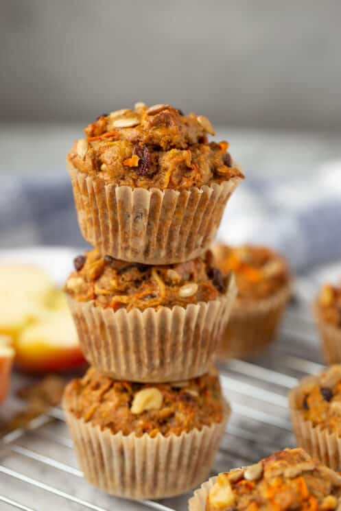 stack of whole wheat muffins