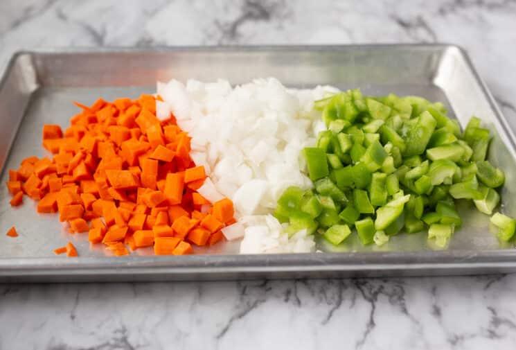 fresh chopped veggies to go in lasagna