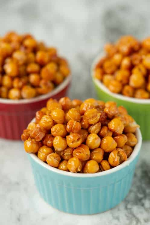 roasted chickpeas in colorful bowls