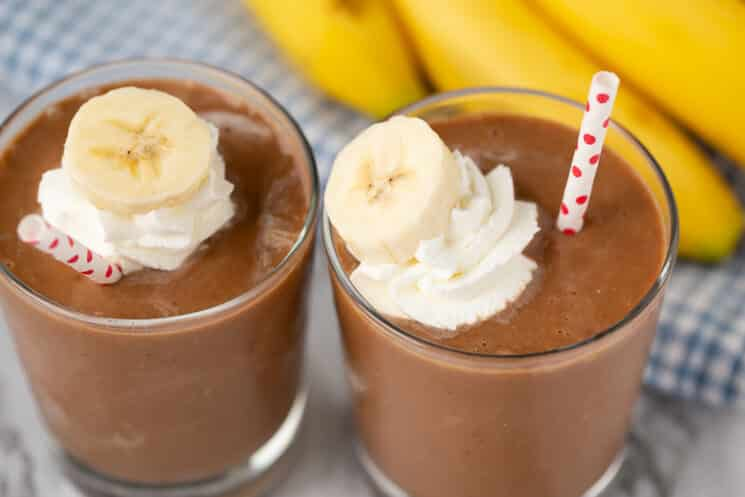 two glasses of chocolate banana smoothie