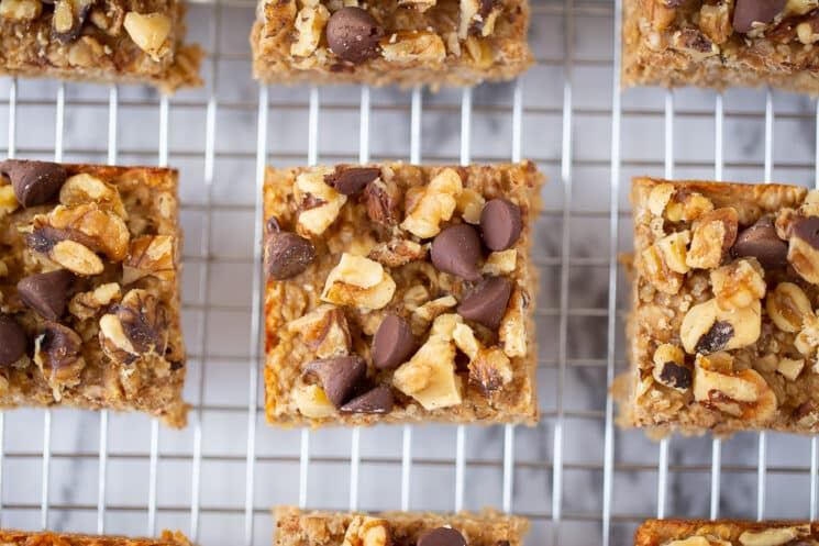 close up of peanut butter banana bar with chocolate and nuts