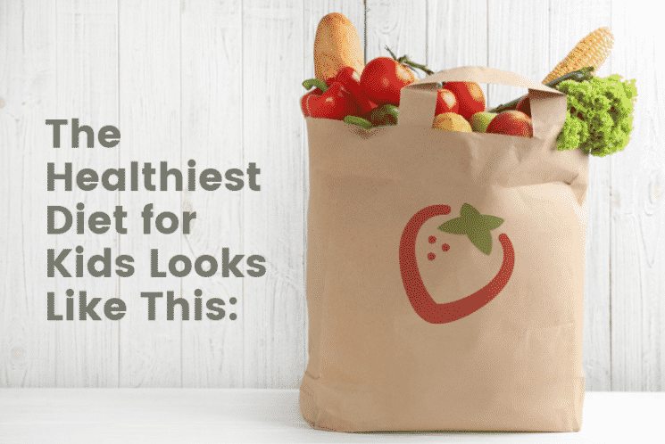 the healthiest diet for kids includes fruits and vegetables in a brown grocery bag