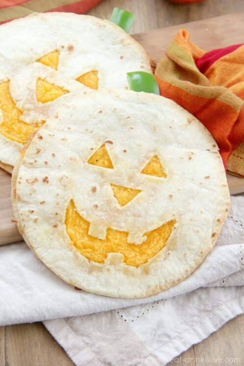 cheese quesadillas with jack o lanterns cared in them