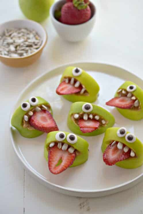 silly apple monsters on a plate