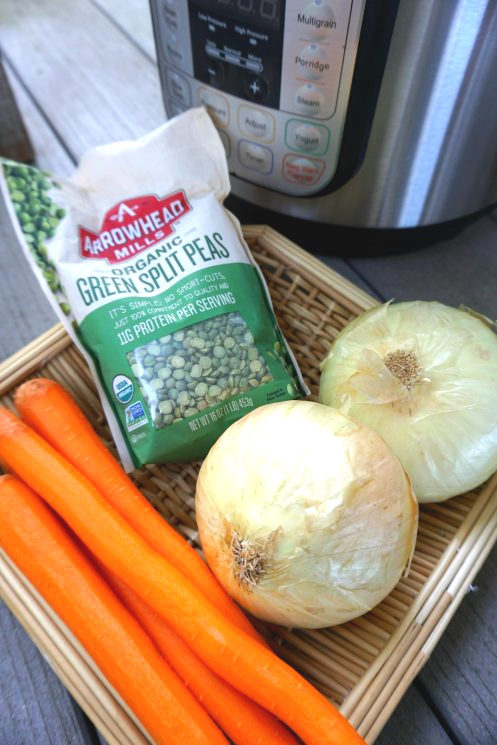 wholesome ingredients to make split pea soup in a basket