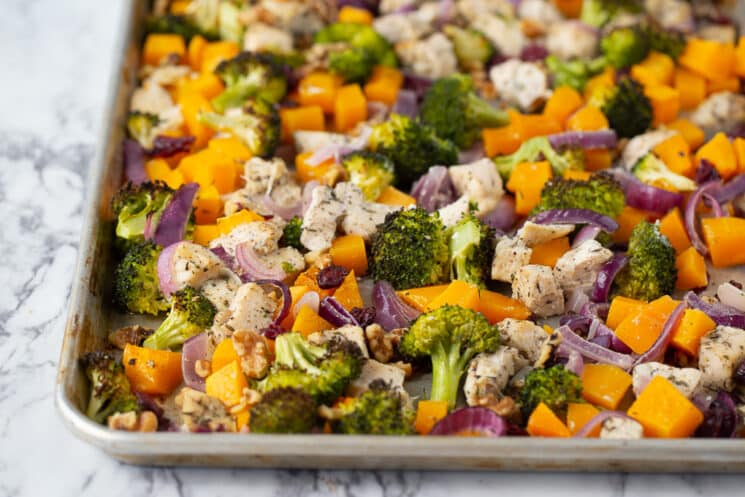 pan of roasted veggies and chicken