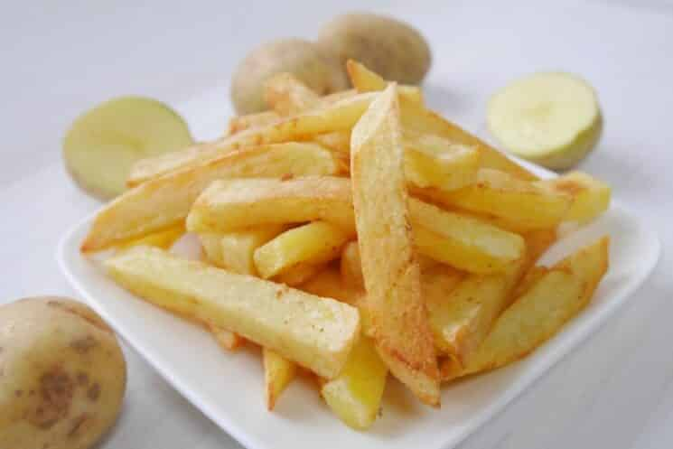 plate of crispy baked potato fries